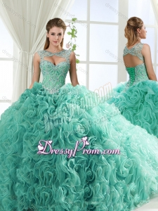 Lovely Sweetheart Beaded Detachable Quinceanera Dresses with Rolling Flower
