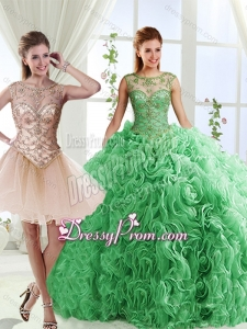 Luxurious See Through Scoop Green Detachable Sweet 16 Quinceanera Dresses with Brush Train