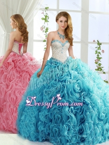 Modest Brush Train Beaded Baby Blue Detachable Sweet 15 Quinceanera Skirts in Rolling Flowers
