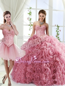Romantic Beaded and Rolling Flowers Detachable Sweet 16 Quinceanera Skirts with Brush Train