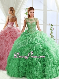 See Through Beaded Scoop Detachable Quinceanera Skirts with Rolling Flower