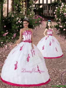 2015 Unique Satin and Organza Appliques White and Hot Pink Princesita Dress