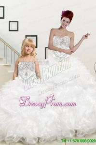 New Sweetheart Sweep Train Beading and Ruffles Princesita Dress for 2015