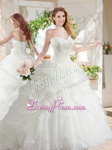 White Ball Gown Sweetheart Organza Court Train Beaded and Bubbles Quinceanera Dress