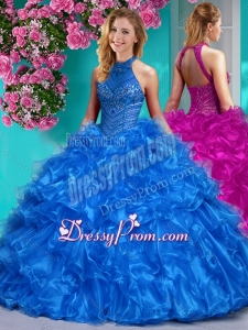 Beautiful Halter Top Beaded and Ruffled Quinceanera Dress in Royal Blue