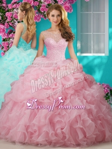 Lovely Beaded and Ruffled Big Puffy Quinceanera Dresses with See Through Scoop