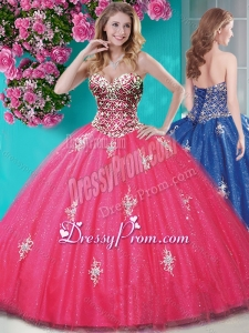 Romantic Beaded and Appliques Tulle Quinceanera Dress with Really Puffy