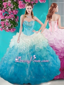 Beautiful Beaded Bust White and Blue Quinceanera Dress in Organza