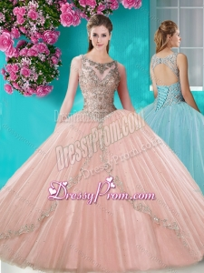 Cheap See Through Scoop Organza Quinceanera Dress with Beading