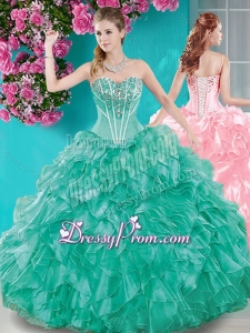 Puffy Skirt Ruffled and Beaded Quinceanera Dress in Turquoise