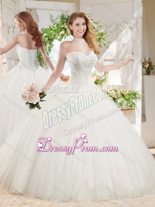 White Ball Gown Sweetheart Court Train Beaded Quinceanera Dress in Tulle