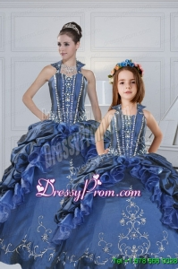Classical Sweetheart Navy Blue Princesita Dresses with Embroidery