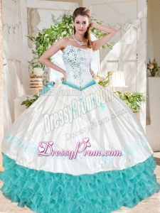 Exclusive Ruffled and Beaded Asymmetrical Beautiful Quinceanera Dress with White and Aqua Blue