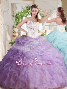 Fashionable Asymmetrical Visible Boning Beaded 2016 Quinceanera Dress with Ruffles and Bubbles