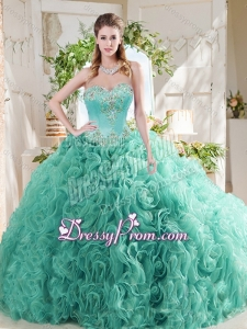 Luxurious Rolling Flower Big Puffy Mint 2016 Quinceanera Dress Gown with Beading
