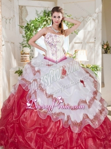 Popular Big Puffy Bubble Beaded and Ruffled 2016 Quinceanera Dresses with Asymmetrical Neckline