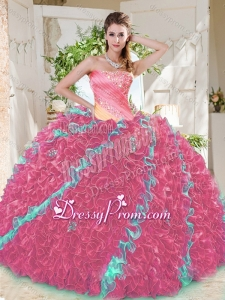 Beautiful Beaded Pleated and Ruffled Big Puffy Latest Quinceanera Dress in Rainbow