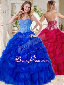 Exclusive Blue Big Puffy Beautiful Quinceanera Dress Gown with Beading and Pick Ups