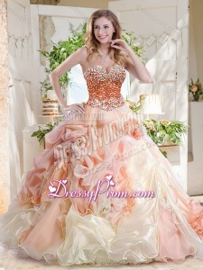 Fashionable Beaded and Bubble Latest Quinceanera Dress in Peach and White