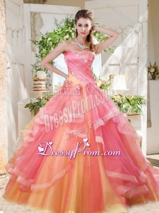 Fashionable Rainbow Big Puffy Beautiful Quinceanera Dress with Ruffles Layers and Beading