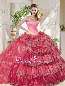 Gorgeous Beaded and Ruffled Big Puffy Latest Quinceanera Dress in Rainbow
