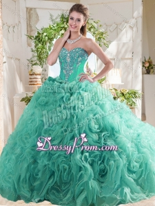 New Arrivals Rolling Flowers Mint Beautiful Quinceanera Dress with Beading