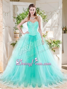 Romantic Beaded Bodice and Applique Tulle Latest Quinceanera Dress in Mint