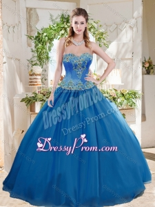Romantic Big Puffy Blue Latest Quinceanera Dress with Beading and Appliques