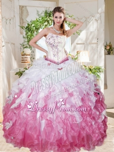 Wonderful Asymmetrical Big Puffy Latest Quinceanera Dress with Beading and Ruffles