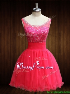 Vintage Beaded Bodice Open Back Organza Prom Dress in Coral Red