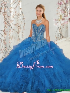 2015 Affordable and Detachable Beading and Ruffles Aqua Blue Quinceanera Dress Skirts