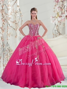 2015 Detachable Sweetheart Hot Pink Sequins and Appliques Quinceanera Dresses