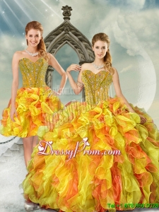 2015 Detachable Yellow and Orange Quinceanera Dress Skirts with Beading and Ruffles