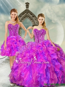 2015 Detachable and Custom Made Fuchsia and Lavender Quince Dresses with Beading and Ruffles