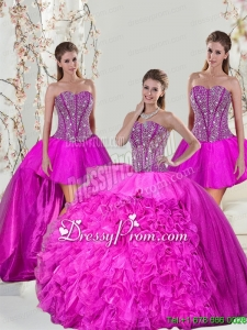 2015 Spring Detachable and Custom Made Hot Pink Sweet 16 Dresses with Beading and Ruffles