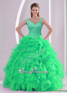 2015 Unique and Detachable Spring Green Quinceanera Dress Skirts with Beading and Ruffles