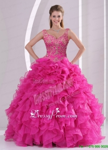 Beautiful Hot Pink Quince Dresses with Beading and Ruffles for 2015