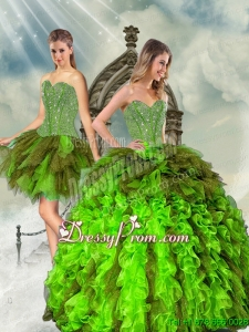 Detachable Beading and Ruffles Multi Color Quinceanera Dress Skirts