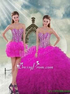 Detachable Quinceanera Dress Skirts with Beading and Ruffles in Fuchsia for 2015 Spring