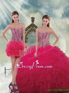 Detachable and Beautiful Beading and Ruffles Red Sweet 16 Dresses