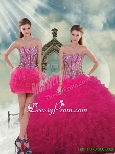 Detachable and Unique Beading and Ruffles Dresses For Quince in Hot Pink for 2015