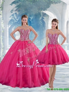2015 Detachable Sweetheart Hot Pink Sequins and Appliques Quinceanera Dress Skirts