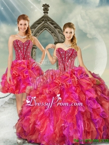2015 Detachable and Exclusive Beading and Ruffles Multi Color Quince Dresses