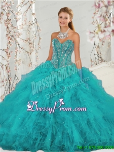 2015 Detachable and Fabulous Beading and Ruffles Sweet 15 Dresses in Turquoise