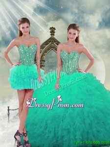 2015 Detachable and Fabulous Beading and Ruffles Sweet 16 Dresses in Apple Green