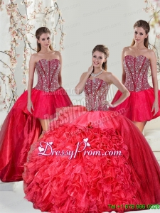 Detachable and Exclusive Beading and Ruffles Red Quinceanera Dresses for 2015