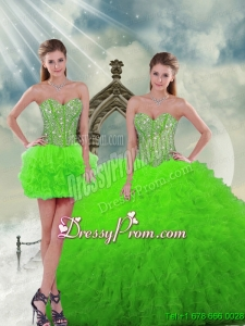 Detachable and Exclusive Beading and Ruffles Spring Green Dresses For Quinceanera