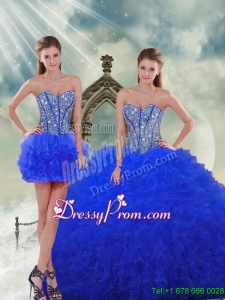 Detachable and Fabulous Royal Blue Quinceanera Dresses with Beading and Ruffles for 2015 Spring
