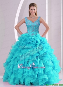 Exclusive Beading and Ruffles Quinceanera Dresses in Aqua Blue