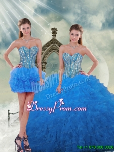 Detachable and Modern Aqua Blue Sweet 16 Dresses with Beading and Ruffles